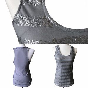 Grey Sequinned Striped Tank